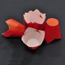 Капсулы бумажные «Тюльпаны» для выпечки кексов, красные — 50x80 — 50 шт.
