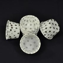 Бумажная одноразовая форма для маффинов и капкейков, белые в чёрный горошек — 50x40 — 100 шт.