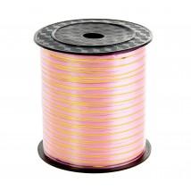 Лента декоративная для упаковки с золотой полосой, розовая 5 мм. — 225 м.