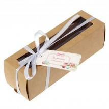 Коробка для макарун с шильдиком «Моменты счастья» (для 6 шт.)